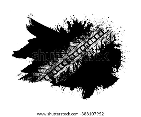 Grunge distressed paintbrush strokes background with tire track overlay illustration - stock photo
