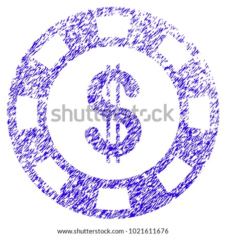 Grunge Dollar Casino Chip rubber seal stamp watermark. Icon symbol with grunge design and scratched texture. Unclean raster blue sticker.
