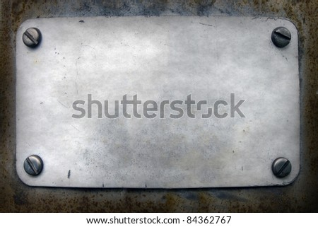 grunge door plate, metal background - stock photo