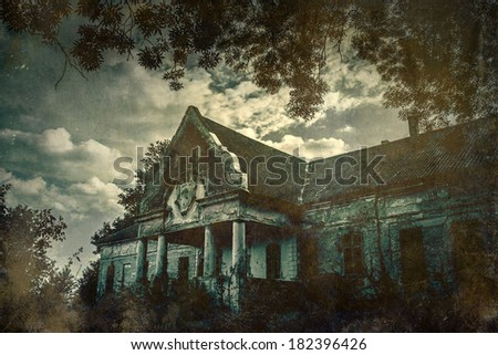 Grunge effected photo of spooky abandoned castle - stock photo