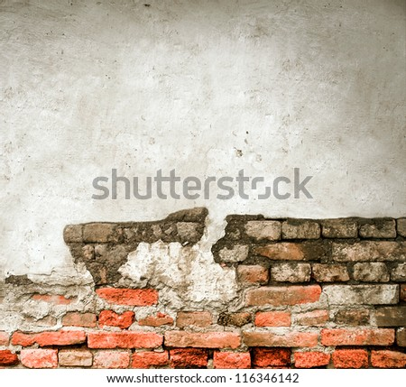 Grunge empty brick wall with space for your text - stock photo
