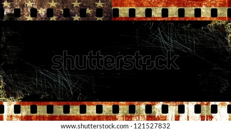 Grunge film borders with symbolic  americans colors - stock photo