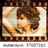 Grunge film frame. Retro shot. Fashion art photo - stock photo