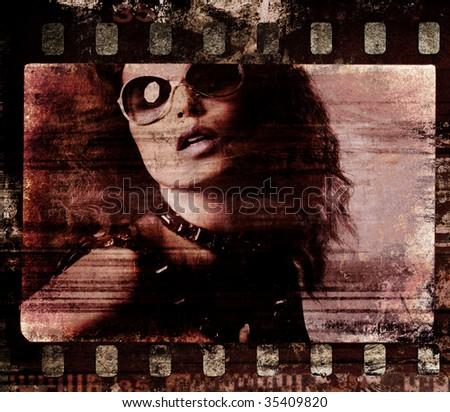 Grunge film frame. Retro shot.  Fashion art photo - stock photo