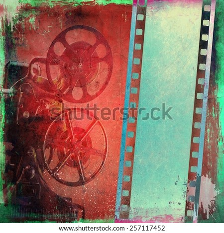 Grunge film strip background and old projector - stock photo