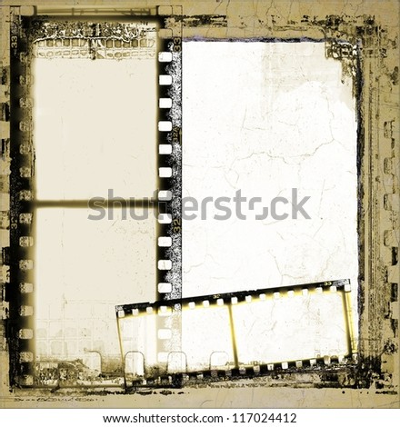Grunge film strip frame - stock photo