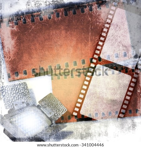 Grunge film strips background with led reflector - stock photo