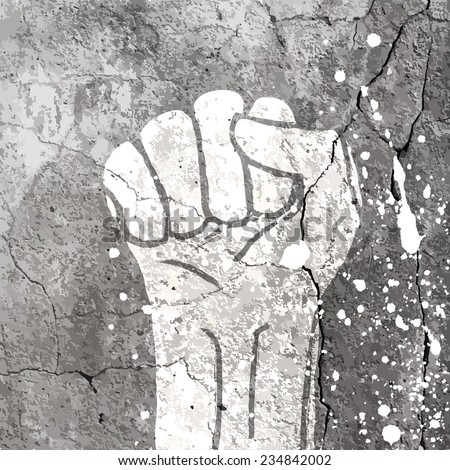 Grunge fist illustration on concrete texture with white splashes. Raster version - stock photo