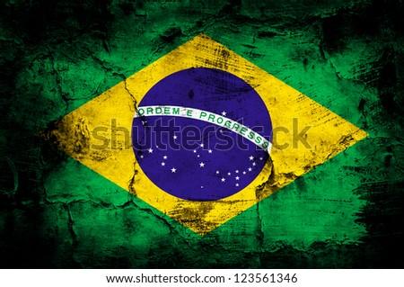 Grunge flag of Brazil - stock photo