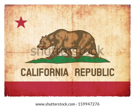 Grunge flag of California (USA) - stock photo