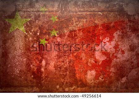 Grunge flag of China - stock photo