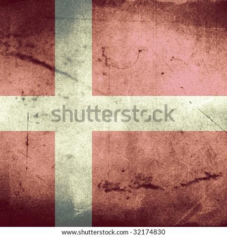 grunge flag of denmark - stock photo