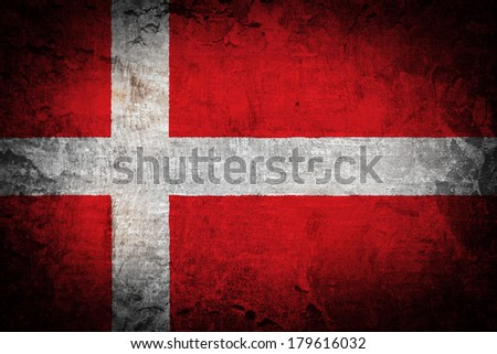 Grunge flag of European country Denmark  - stock photo