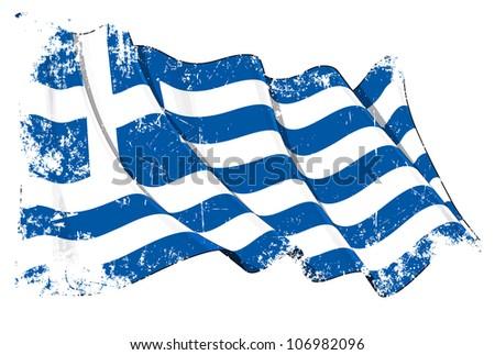 Grunge Flag of Greece - stock photo