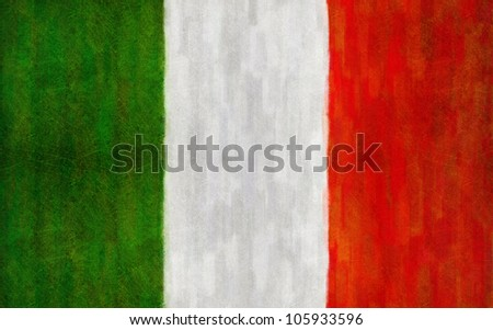 Grunge Flag of Italy. Digital structure of painting. - stock photo