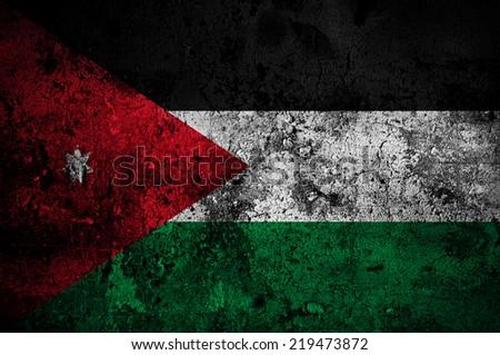 grunge flag of Jordan with capital in Amman - stock photo