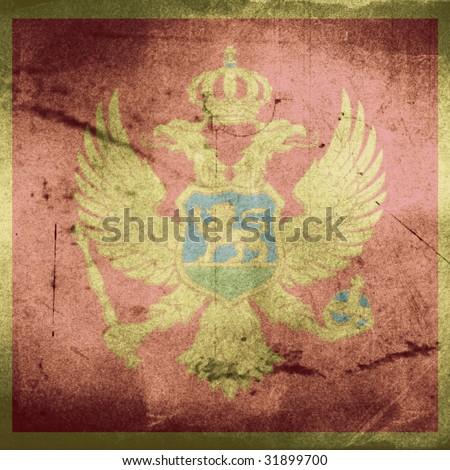 grunge flag of montenegro - stock photo