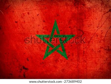 grunge flag of Morocco - stock photo