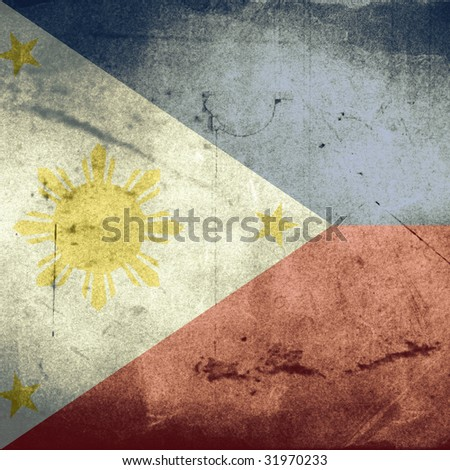 grunge flag of philippines - stock photo