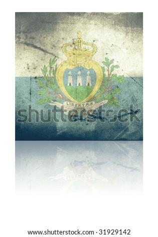grunge flag of san marino with shadow - stock photo