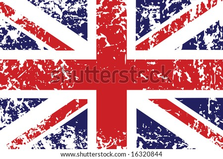 Grunge flag of United Kingdom - useful background - stock photo