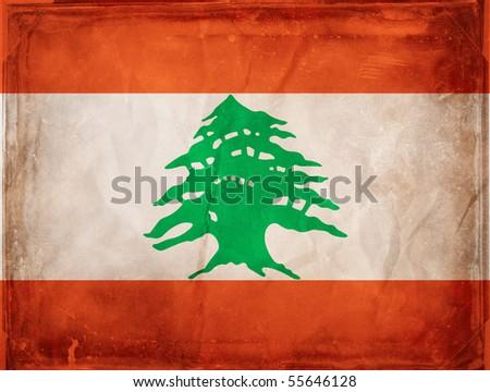 Grunge flag series -  Lebanon - stock photo