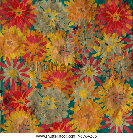 Grunge floral background vintage card - stock photo