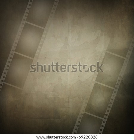 Grunge frame made from photo film strip and paper texture - stock photo