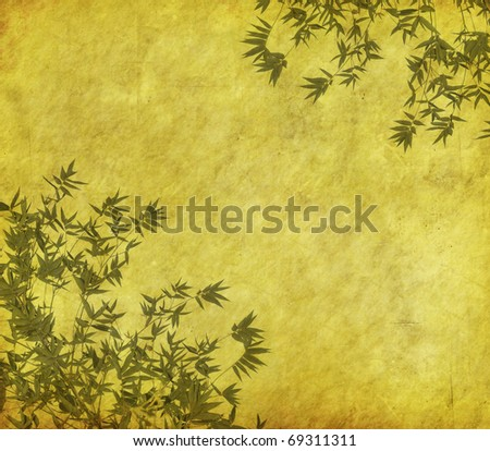 grunge frame with bamboo silhouette - stock photo