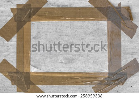 Grunge frame with brown tape and bottom ruined. - stock photo