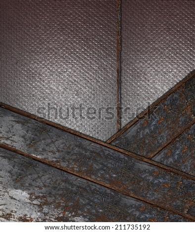 Grunge gray background with rusty metallic strip. Design template. Design site - stock photo