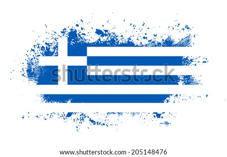 Grunge greek ink splattered flag  - stock photo