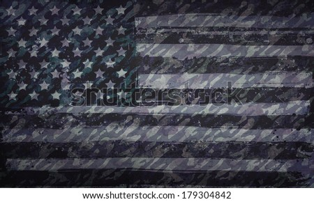 Grunge Green American Flag - stock photo