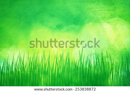 Grunge green spring grass with bright yellow green bokeh background, illustration. - stock photo