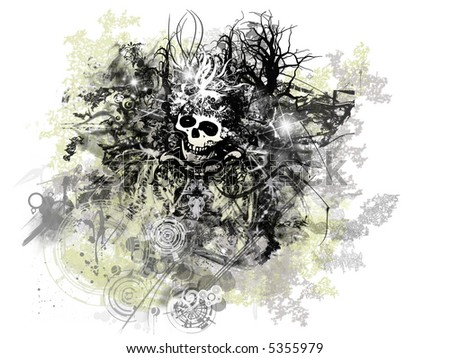Grunge Halloween: abstract grunge and rusty, skull in the center - stock photo