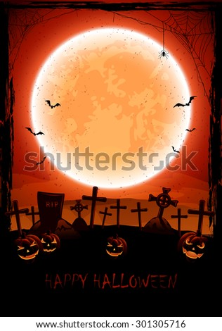 Grunge Halloween background with shining Moon, pumpkins, bats and spider on cemetery, illustration. - stock photo