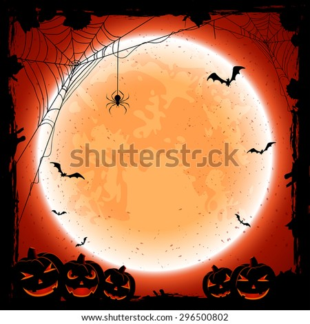 Grunge Halloween background with shining Moon, pumpkins, bats and spiders, illustration. - stock photo