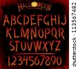 Grunge Halloween Font. Collection of Latin Letters - stock photo