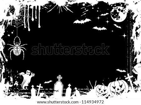 Grunge Halloween frame with pumpkin, bat, element for design, illustration