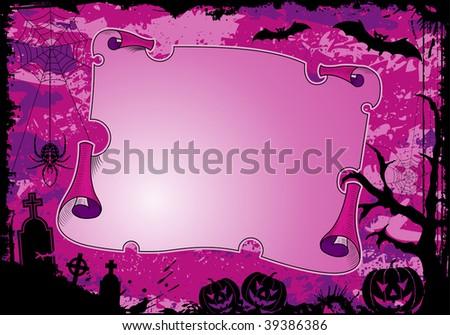 Grunge Halloween frame with roll, bat, spider, pumpkin, element for design, illustration - stock photo