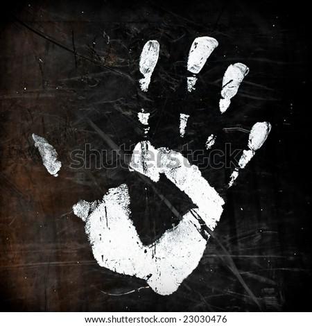 grunge hand print - stock photo