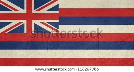 Grunge Hawaii state flag of America, isolated on white background. - stock photo