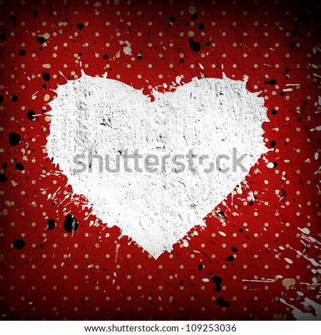 grunge heart background with white stains