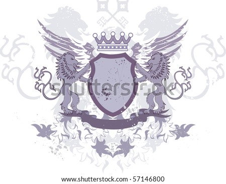 Grunge heraldic shield with lions and keys - illustration