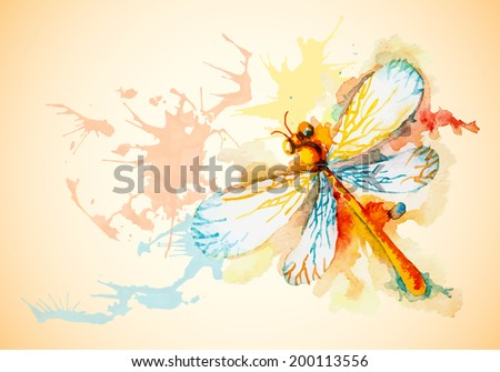 Grunge horizontal background with beautiful watercolor flying orange dragonfly