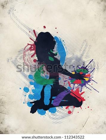 Grunge illustration of a music  DJ background - stock photo