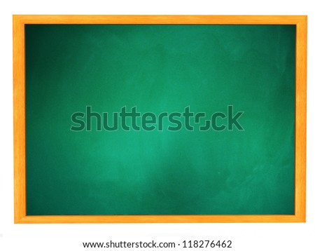 Grunge illustration of green dirty chalkboard, blackboard texture in wooden frame. - stock photo
