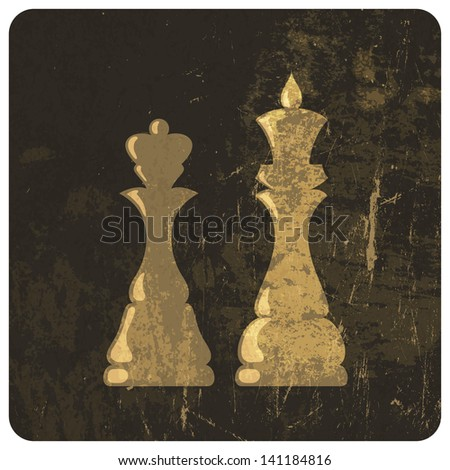 Grunge illustration of king and queen chess figures. Raster version, vector file available in my portfolio. - stock photo