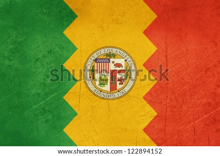 Grunge Illustration of Los Anglese city flag, California, U.S.A. - stock photo