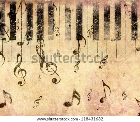 Grunge illustration of vintage music concept background with piano. - stock photo